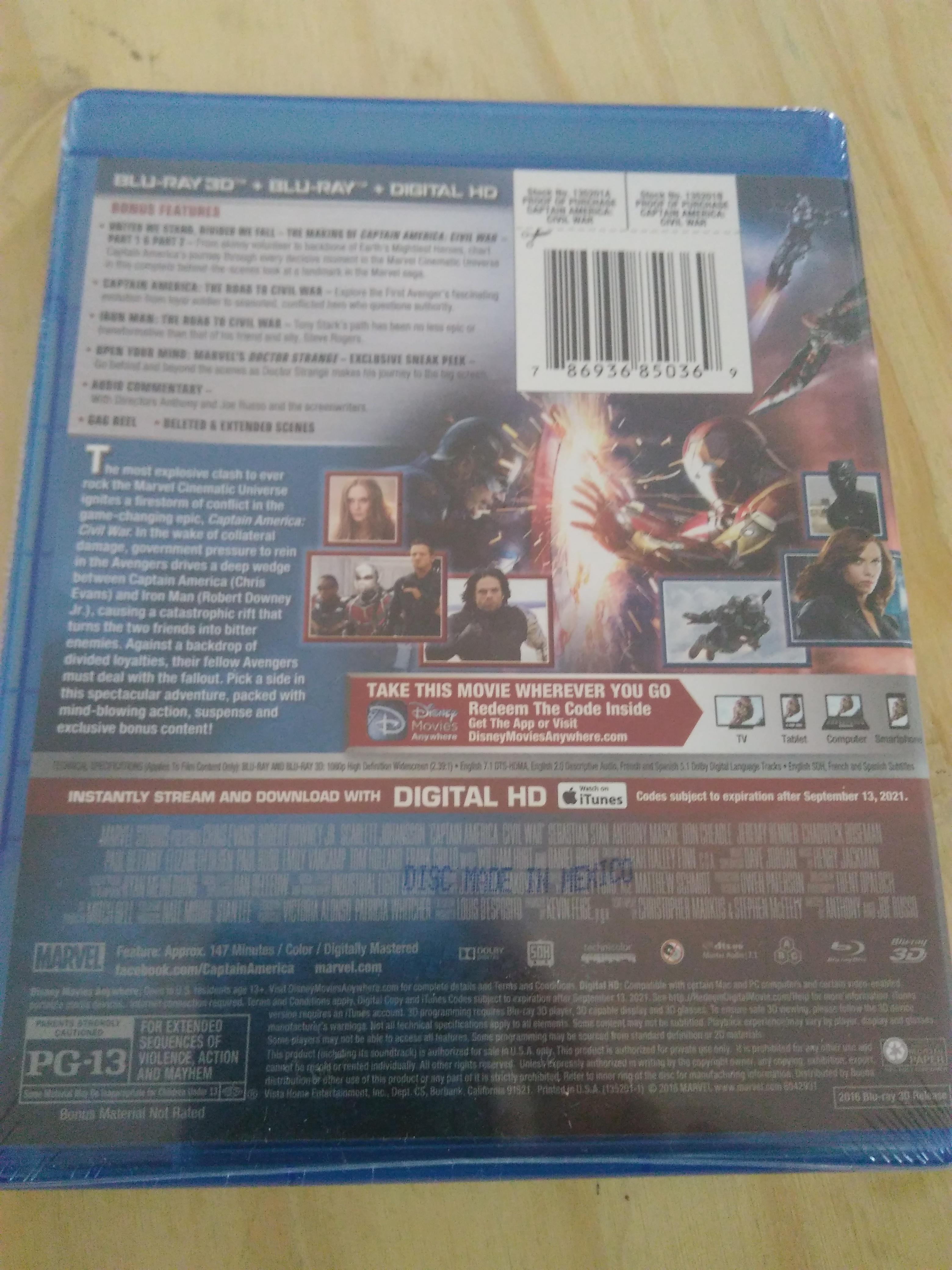 Captain America Civil War (Bluray)